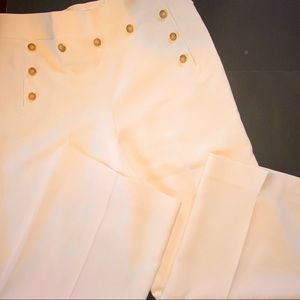 TORY BURCH PANTS WIDE LEG CREPE SAILOR IVORY 12
